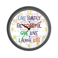Live Simply Affirmations Wall Clock
