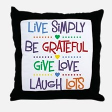 Live Simply Affirmations Throw Pillow