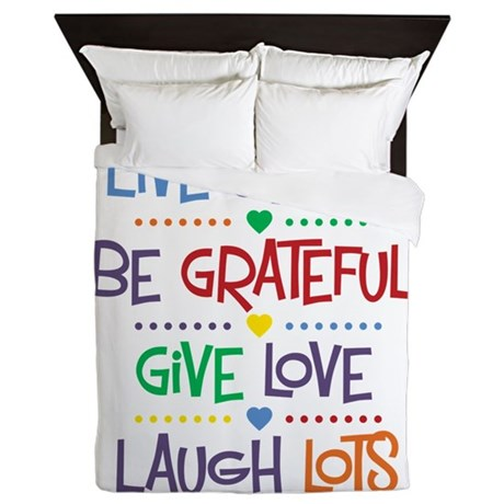 Live Simply Affirmations Queen Duvet