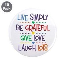 "Live Simply Affirmations 3.5"" Button (10 pack)"