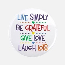 """Live Simply Affirmations 3.5"""" Button (100 pack)"""