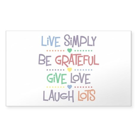Live Simply Affirmations Sticker (Rectangle)
