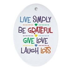 Live Simply Affirmations Ornament (Oval)
