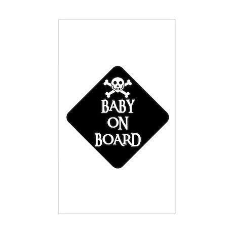 WARNING: BABY ON BOARD Rectangle Sticker
