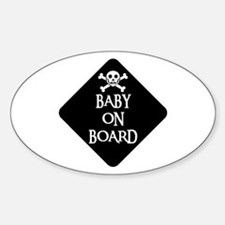 WARNING: BABY ON BOARD Oval Stickers