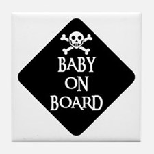 WARNING: BABY ON BOARD Tile Coaster