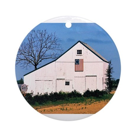 American Barns No. 2 Ornament (Round)