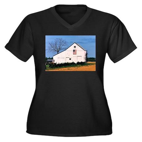 American Barns No. 2 Women's Plus Size V-Neck Dark