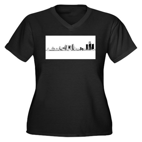 Detroit Skyline Women's Plus Size V-Neck Dark T-Sh