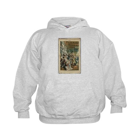 "Illustration from ""Puck"" April 1883 Kids Hoodie"