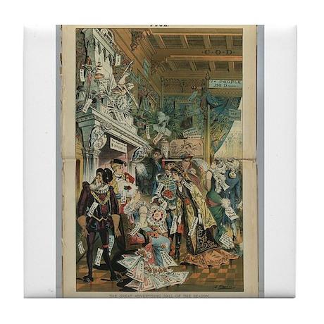 "Illustration from ""Puck"" April 1883 Tile Coaster"