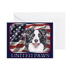 Border Collie Flag USA Greeting Cards(6)