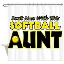 Dont Mess With This Softball Aunt.png Shower Curta