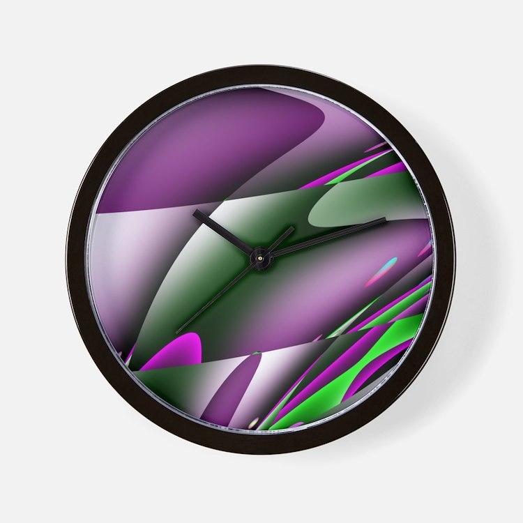 Contemporary Purple Waves Wall Clock
