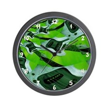 Modern Green Guitar Wall Clock