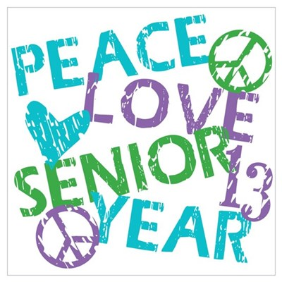 PEACE LOVE SENIOR 2013 Wall Art Poster