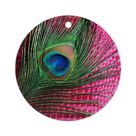 Dark Pink Peacock Feather Ornament (Round)