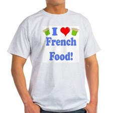 I Heart French Food Ash Grey T-Shirt
