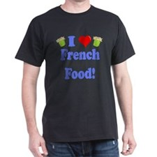 I Heart French Food Black T-Shirt