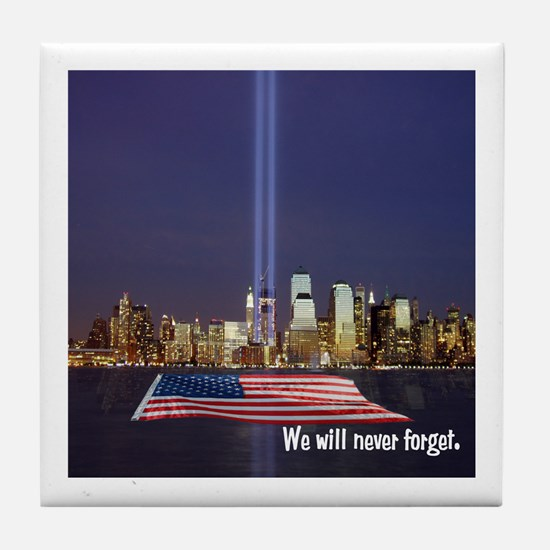 9/11 Tribute - Never Forget Tile Coaster