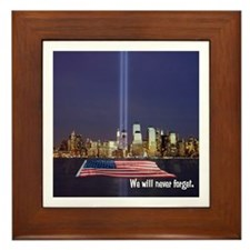 9/11 Tribute - Never Forget Framed Tile