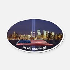 9/11 Tribute - Never Forget Oval Car Magnet