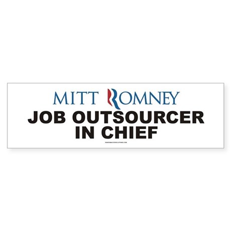 Anti Mitt Romney bumper sticker JOB OUTSOURCER