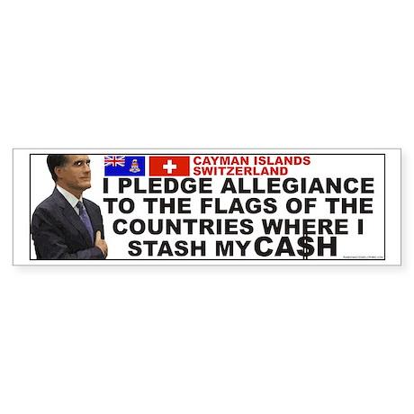 Anti Mitt Romney bumper sticker pledge