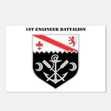 DUI - 1st Engineer Battalion with Text Postcards (