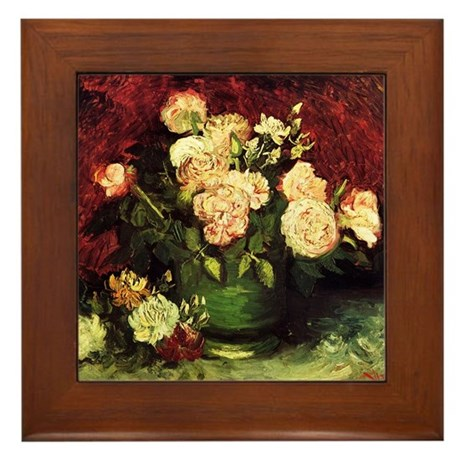Van Gogh Roses And Peonies Framed Tile