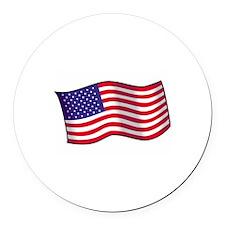 American Flag Round Car Magnet