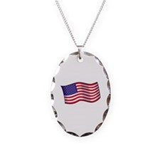 American Flag Necklace Oval Charm
