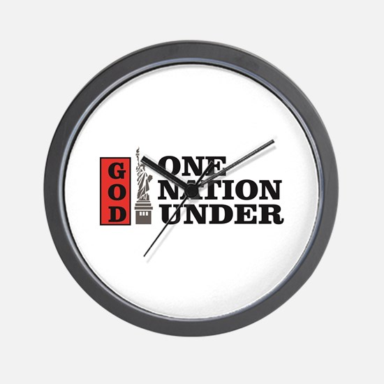 one nation under god liberty Wall Clock