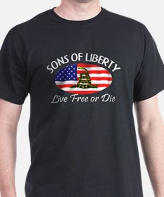 Sons-of-Liberty-(oval-flag)-dark-shirt T-Shirt
