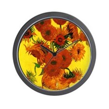 Van Gogh 15 Sunflowers (High Res) Wall Clock