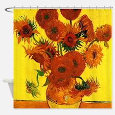 Van Gogh 15 Sunflowers (High Res) Shower Curtain