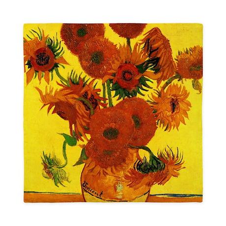 Van Gogh 15 Sunflowers (High Res) Queen Duvet