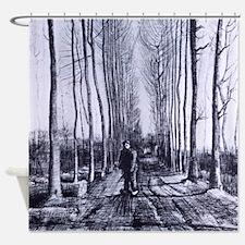 Van Gogh Poplar Avenue Shower Curtain