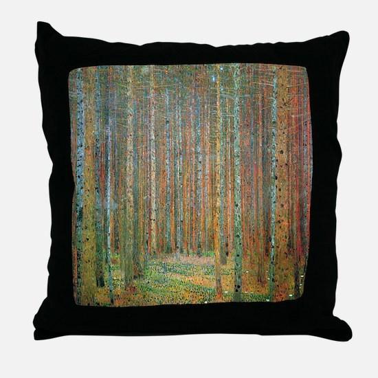 Gustav Klimt Pine Forest Throw Pillow