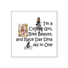 "Cycling Race Diva Square Sticker 3"" x 3"""