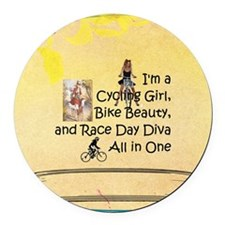 Cycling Race Diva Round Car Magnet