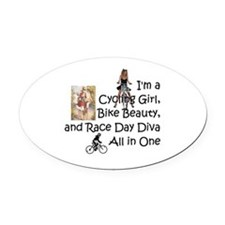 Cycling Race Diva Oval Car Magnet