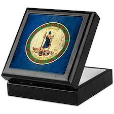 Grunge Virginia Flag Keepsake Box