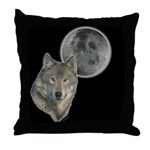 Wolf head Moon Throw Pillow