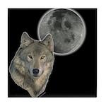 Wolf head Moon Tile Coaster