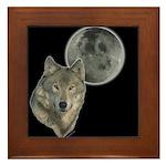 Wolf head Moon Framed Tile
