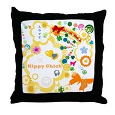 Vintage Chick Hippy Chick Throw Pillow