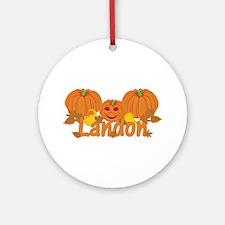 Halloween Pumpkin Landon Ornament (Round)
