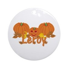 Halloween Pumpkin Leroy Ornament (Round)
