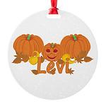 Halloween Pumpkin Levi Round Ornament